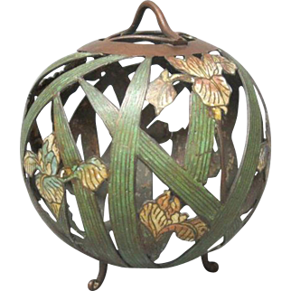 "12"" Bronze Champleve Hanging Lantern - Irises"