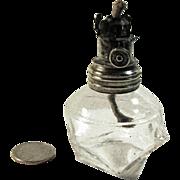 1883 - Antique Mini Oil Lamp - Pressed Glass