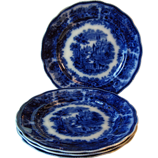 "Flow Blue Plate 1889-1900 ""Non Pariel"""