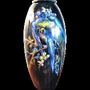Large French Handpainted Limoges Porcelain Vase - Parrots