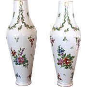 Pair of Paris Porcelain Hand Painted Floral Vases