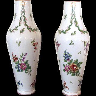 Pair of Paris Porcelain Hand Painted Floral Vases