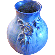 "7"" Blue Fulper Pottery Vase with a Rose"