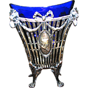 Early Silver Vase with Cobalt Glass Insert