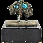 Miniature Expressionist Bronze Sculpture of an Owl