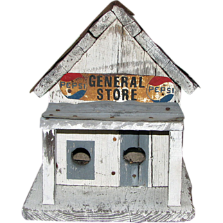 Wood and Tin Birdhouse in the form of a General Store