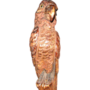 Antique Carved Parrot Parasol Handle with Glass Eyes