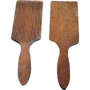 Pair of Wooden Ribbed Butter Paddles