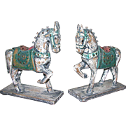 Pair of Chinese Tang Style Carved & Painted Wooden Horses