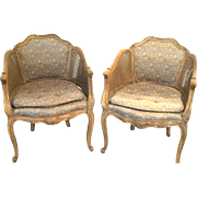 Pair Of Mid Century Carved+Painted French Louis XV Caned Armchairs