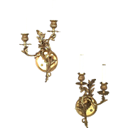 Pair Of Mid Century Solid Brass Rococo Double Arm Sconces