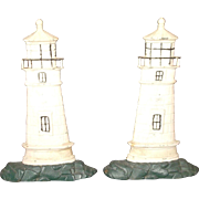 Rare Pair Of Monumental Vintage Cast Iron Painted Lighthouse Doorstops