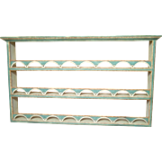 Early 20th Century Faux Paint DEcorated Hanging Plate Rack Pewter Shelf