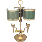 Earl 20th century 3 Arm French Bouillotte Brass Lamp with Painted Tole Shades