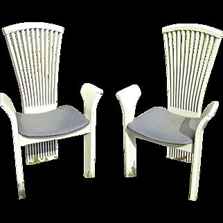 Rare Pair Of Mid Century Modern Italian Fan Back Armchairs By Pietro Constantini