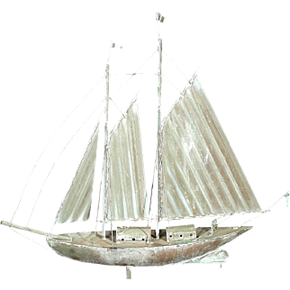 Antique Early 20th Century Copper Schooner Sailboat Weathervave By E.G.Washburn
