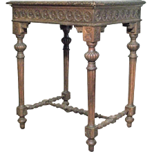 Antique 19th Century Highly Carved French Louis XVI WAlnut Stretcher Base Table