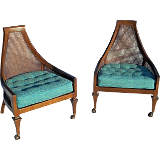 Pair Of Adrian Pearsall Mid Century Modern Cane Back Upholstered Chairs