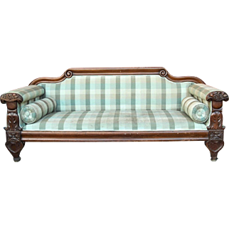 Antique Early 19th Century Classical Empire Carved Mahogany Sofa By Anthony Quervelle