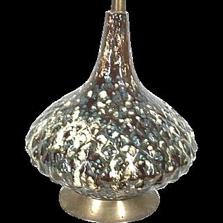 Mid Century Modern Atomic Volcano Drip Glaze Ceramic Gourd Lamp