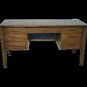 Mid Century Modern Hardwood Kneehole Desk With Surfboard Handles