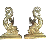 Pair Of Early 20th Century Brass Dolphin Andirons With Matching Dolphin Log Stops