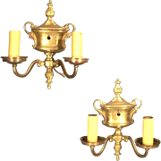 Pair Of Early 20th Century Classical Adams Urn Back Double Arm Brass Sconces
