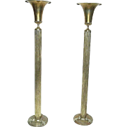 Pair Of Early 20th Century Classical Regency 5 Foot Tall Brass Urn Top Torchieres