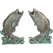 Pair Of Mid Century Painted Fish Leaping Trout Cast Iron Andirons