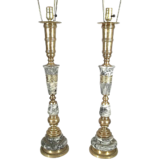 Monumental Pair Of Mid Century Modern James Mont Marble And Brass Lamps