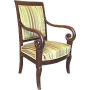 Antique Early 19th Century French Regency Mahogany Upholstered Armchair