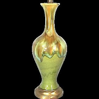 Mid Century Modern Multi Color Lava Drip Glaze Ceramic Vase Lamp On A Brass Base