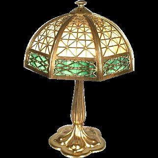 Antique Victorian Art Nouveau 2 Color Stained Slag Glass Lamp