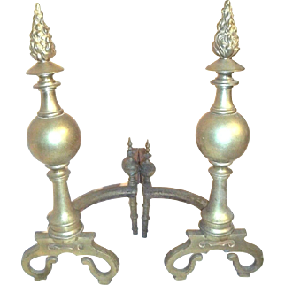 Large Pair Of Early 20th Century Brass Cannon Ball Flame Top Andirons