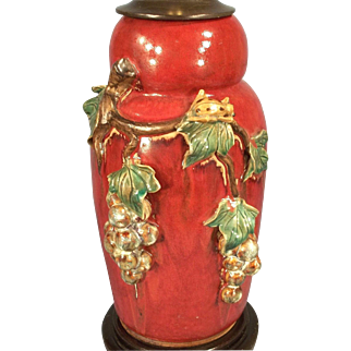 Vintage Mid Century Red Majolica Pottery Lamp With Ladybug And Raised Leaves
