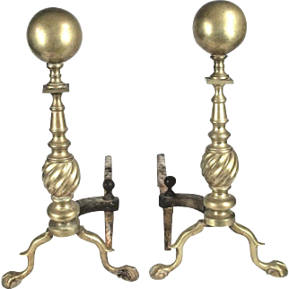 Pair Of Vintage Early 20th Century Brass Ball&Claw Foot Cannon Ball Top Andirons