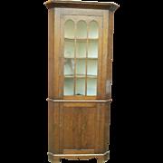 Rare Small Size 19th Century Glass Door Cherry Corner Cupboard On A Bracket Base