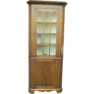 Rare Small Size 19th Century Glass Door Cherry Corner Cupboard On A Bracket Base