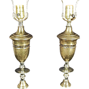 Pair Of Mid Century Modern Classical Regency Pierced Brass Urn Lamps On A Stepped Marble Base