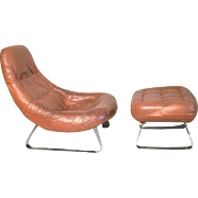 Mid Century Modern Percival Lafer Leather Chair And Ottoman