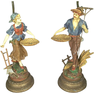 Pair Of Early 20th Century Figural Farmer And Wife Lamps In Original Polychrome Paint