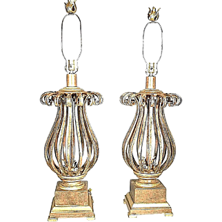 A Great Pair Of Mid Century Regency Scrolled Wrought Iron Urn Lamps
