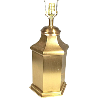 Mid Century Modern Steeple Top 6 Sided Ginger Jar Brass Lamp