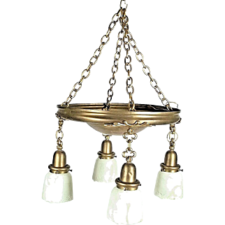 Antique Victorian Art Nouveau Brass 4 Light Chandelier With Frosted Shades