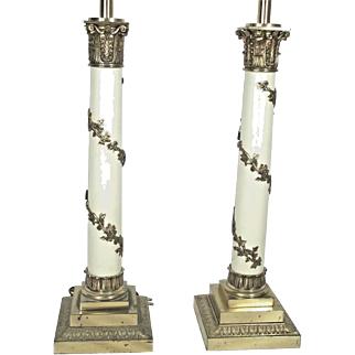 Tall Pair Of Mid Century Regency Corinthian Column Lamps With Climbing Vines
