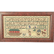 Antique Early American 1834 Noahs Ark And Animals Hand Stitched Alphabet Sampler