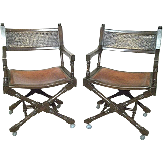 Pair Of Mid Century Regency Leather Seat Cane Back Cross Base Campaign Armchairs