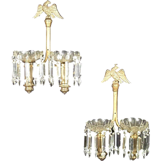 A Vintage Pair Of Early 20th Century Double Arm Eagle Finial Brass And Glass Sconces