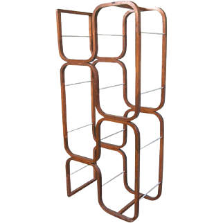 Mid Century Modern Plycraft Eames Style Bentwood Standing Etagere With Metal Shelf Supports