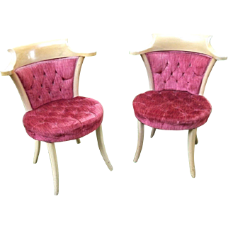 Pair Of Mid Century Modern Hollywood Regency Yoke Back Chairs